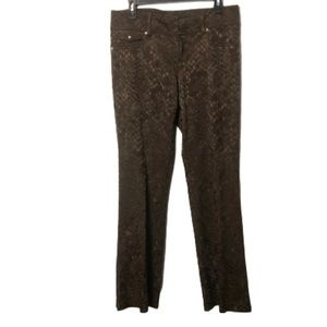 Cache Luxe brown snake skin print pants size 12